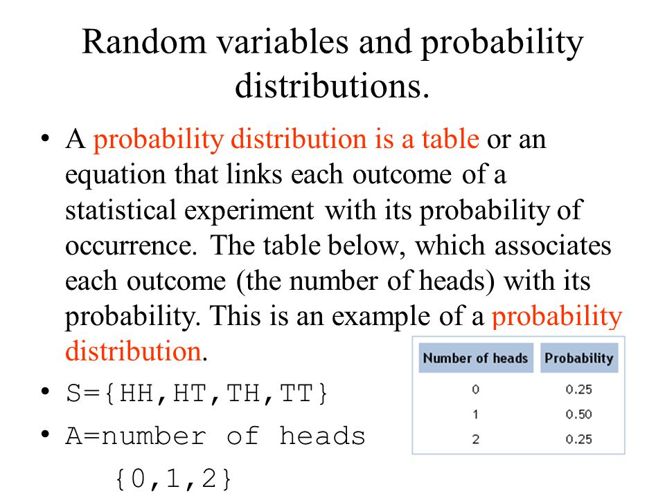Random variables and probability distributions. A probability distribution is a table or an equation that links each outcome of a statistical experime