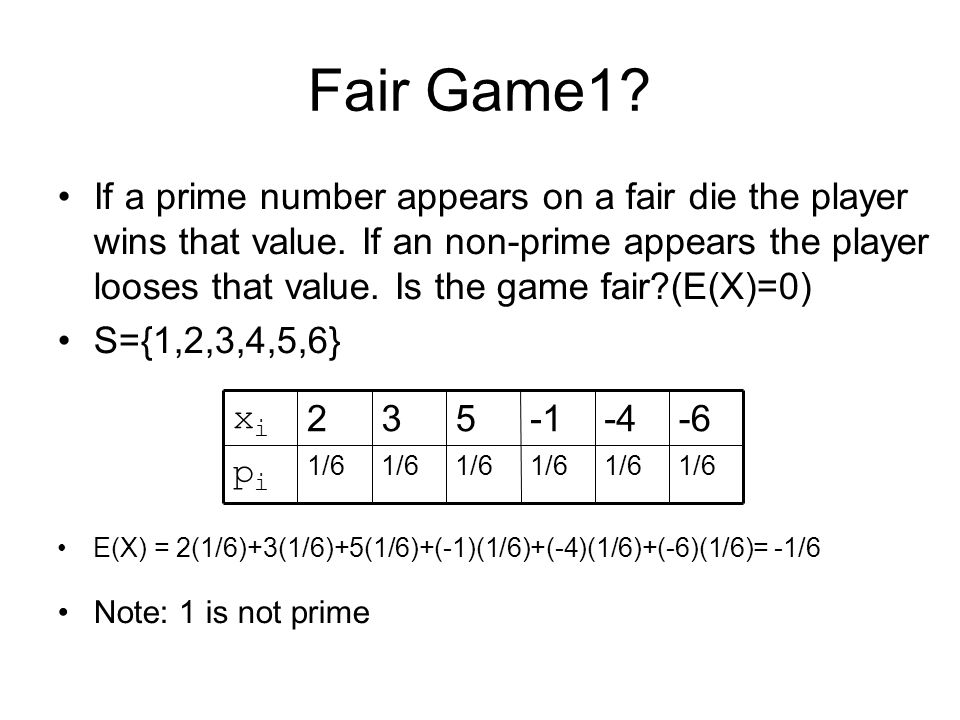 Fair Game1? If a prime number appears on a fair die the player wins that value. If an non-prime appears the player looses that value. Is the game fair