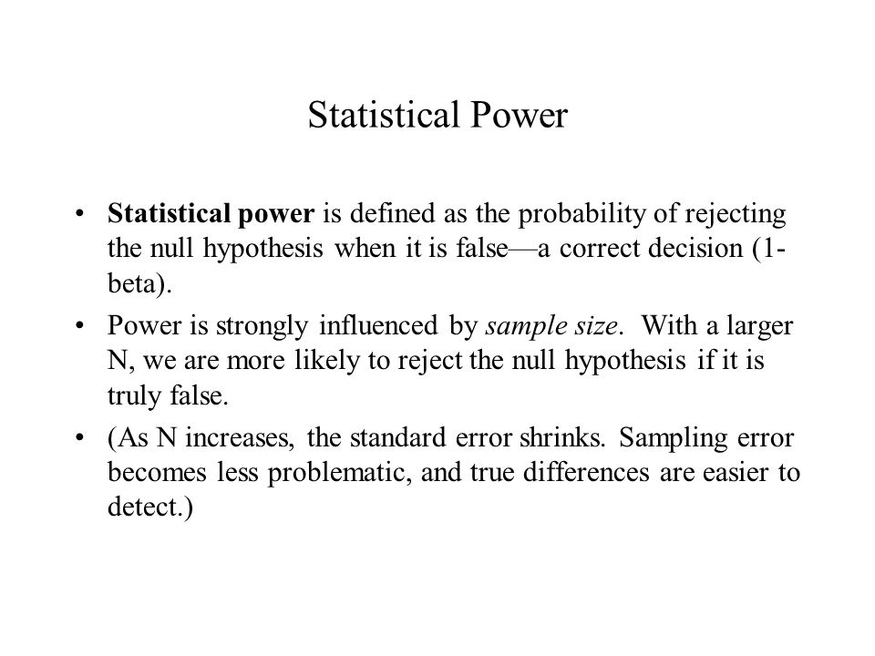 Power and correlation This graph shows how the power of the significance test for a correlation varies as a function of sample size.