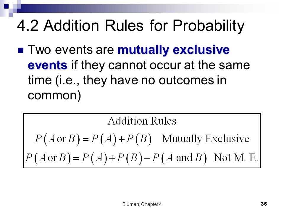 4.2 Addition Rules for Probability mutually exclusive events Two events are mutually exclusive events if they cannot occur at the same time (i.e., the