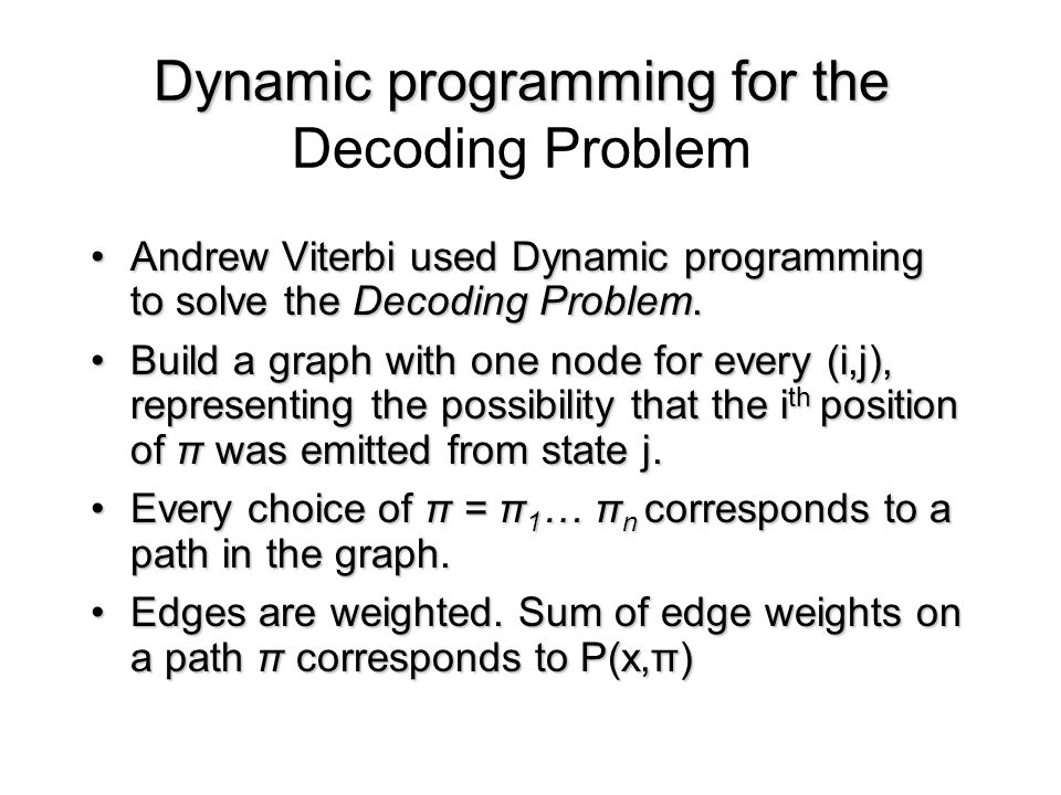 Dynamic programming for the Dynamic programming for the Decoding Problem Andrew Viterbi used Dynamic programming to solve the Decoding Problem.Andrew Viterbi used Dynamic programming to solve the Decoding Problem.
