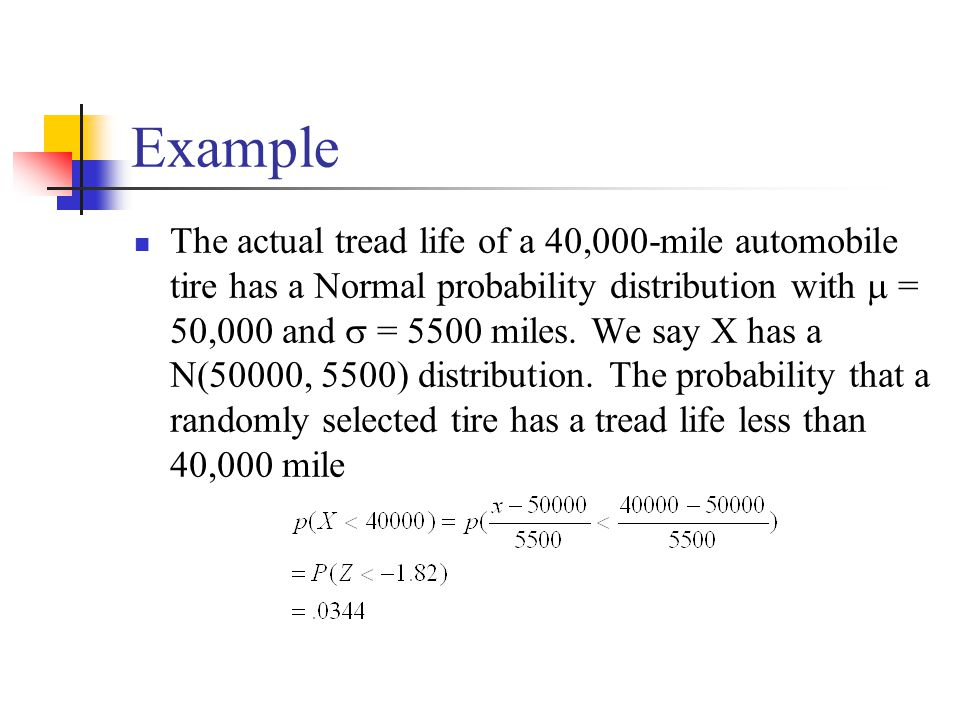 Example The actual tread life of a 40,000-mile automobile tire has a Normal probability distribution with  = 50,000 and  = 5500 miles.
