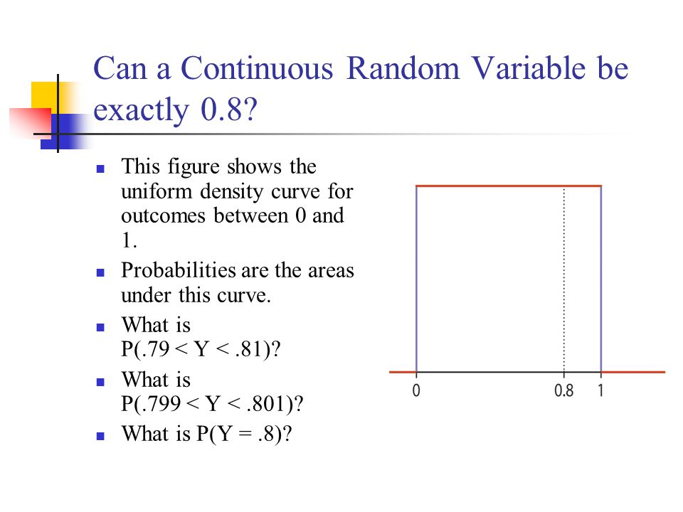 Can a Continuous Random Variable be exactly 0.8? This figure shows the uniform density curve for outcomes between 0 and 1. Probabilities are the areas