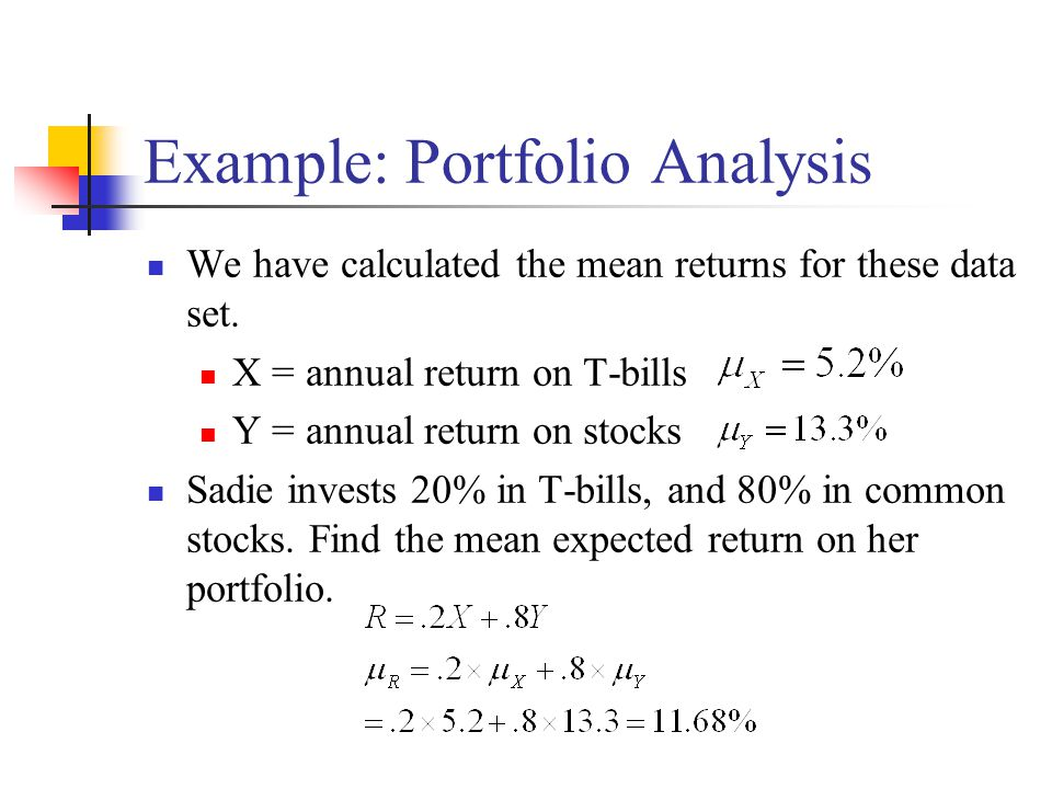 Example: Portfolio Analysis We have calculated the mean returns for these data set.