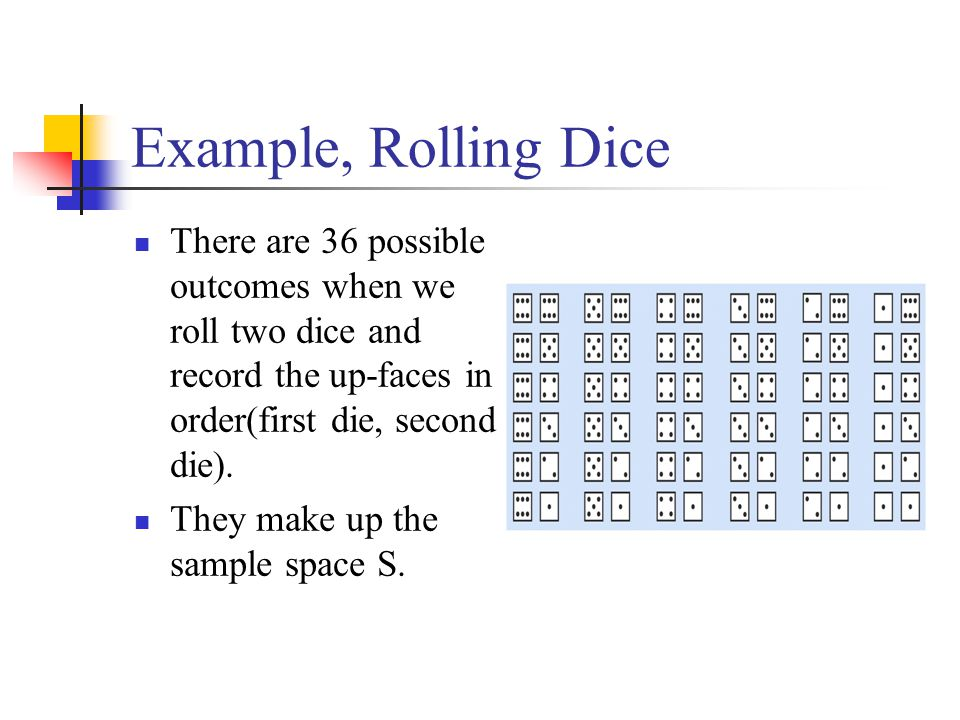 Example, Rolling Dice There are 36 possible outcomes when we roll two dice and record the up-faces in order(first die, second die).