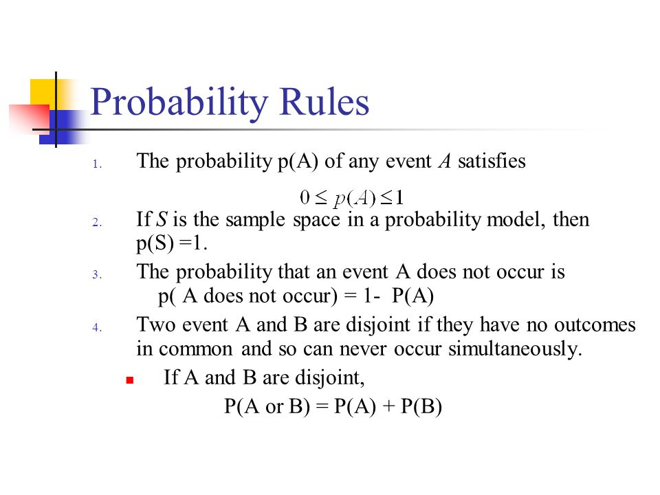 Probability Rules 1. The probability p(A) of any event A satisfies 2. If S is the sample space in a probability model, then p(S) =1. 3. The probabilit
