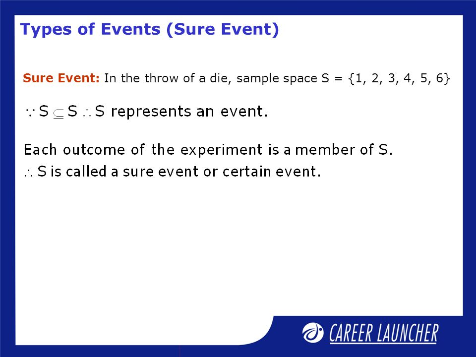 Types of Events (Impossible Event) Impossible Event: In the throw of a die, sample space S = {1, 2, 3, 4, 5, 6}.