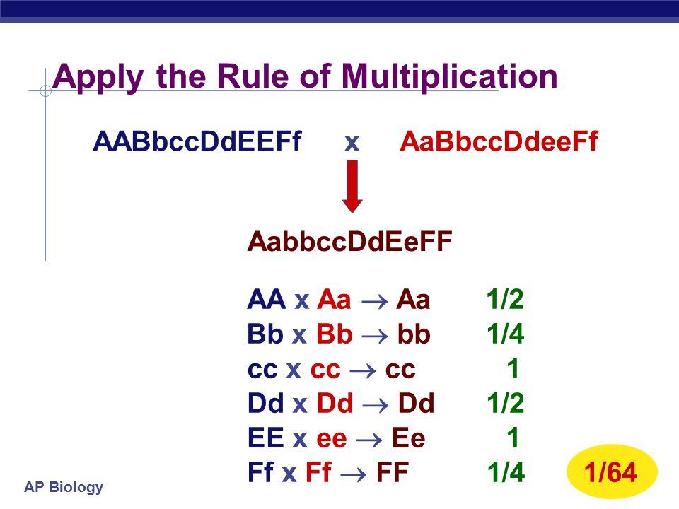 AP Biology Calculating probability in crosses Use rule of multiplication to predict crosses YyRr x yyrr % Yy x Rr x 1/4 1/16 yyrr x
