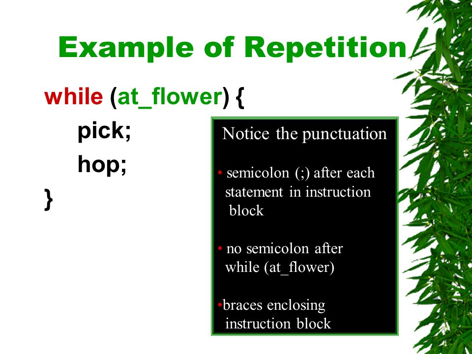 Example of Repetition while (at_flower) { pick; hop; } Notice the punctuation semicolon (;) after each statement in instruction block no semicolon after while (at_flower) braces enclosing instruction block