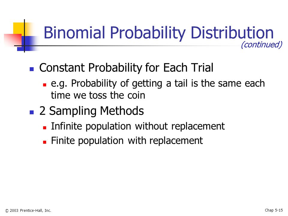 © 2003 Prentice-Hall, Inc. Chap 5-15 Binomial Probability Distribution Constant Probability for Each Trial e.g. Probability of getting a tail is the s