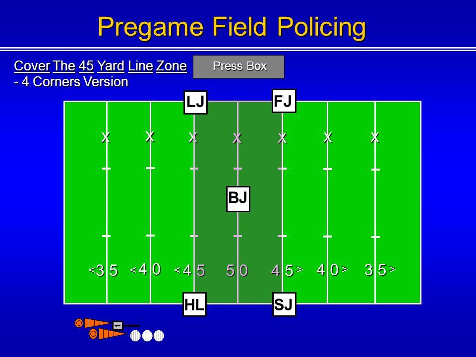 Cover The 45 Yard Line Zone - 4 Corners Version Press Box 3 5 4 0 4 5 5 0 4 5 4 0 <<< < < 1 Pregame Field Policing 3 5 < X X X XX XX HL SJ LJ FJ BJ