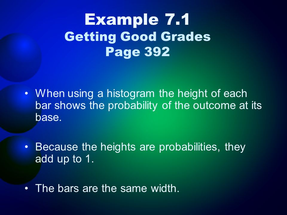 Example 7.1 Getting Good Grades Page 392 When using a histogram the height of each bar shows the probability of the outcome at its base. Because the h