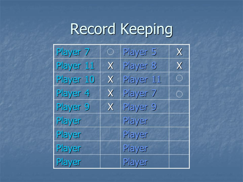 Record Keeping Player 7 Player 5 X Player 11 X Player 8 X Player 10 X Player 11 Player 4 X Player 7 Player 9 X PlayerPlayer PlayerPlayer PlayerPlayer PlayerPlayer