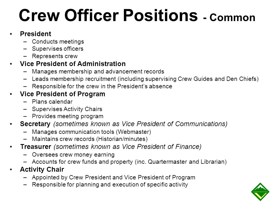 Crew Officer Positions - Common President –Conducts meetings –Supervises officers –Represents crew Vice President of Administration –Manages membershi