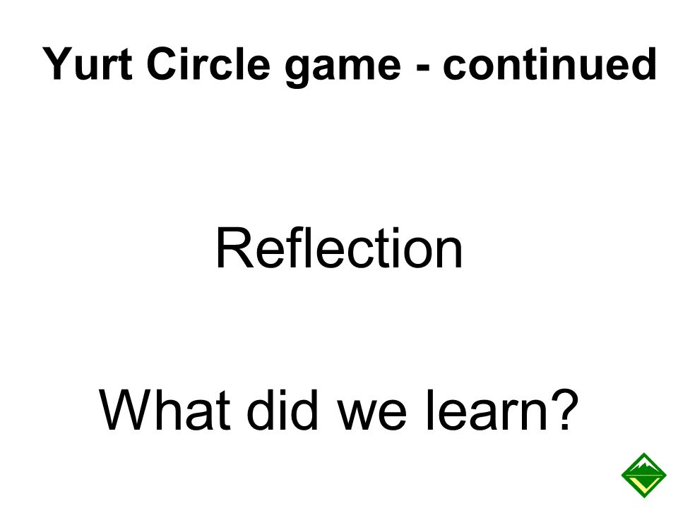 Yurt Circle game - continued Reflection What did we learn?