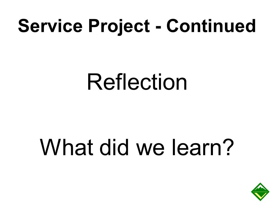 Service Project - Continued Reflection What did we learn?