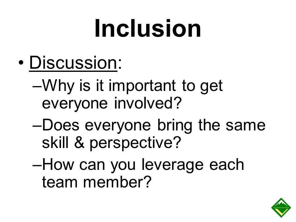 Inclusion Discussion: –Why is it important to get everyone involved? –Does everyone bring the same skill & perspective? –How can you leverage each tea