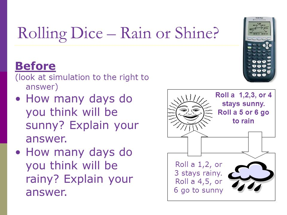 Rolling Dice – Rain or Shine.