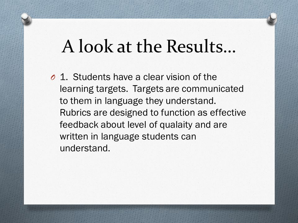 A look at the Results… O 1. Students have a clear vision of the learning targets. Targets are communicated to them in language they understand. Rubric