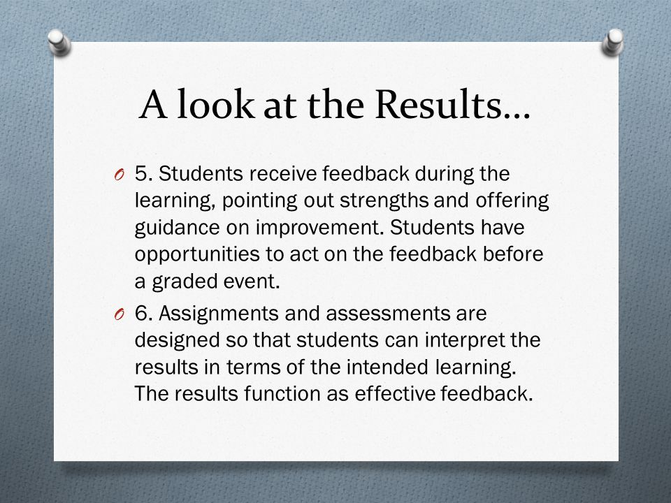 A look at the Results… O 5. Students receive feedback during the learning, pointing out strengths and offering guidance on improvement. Students have
