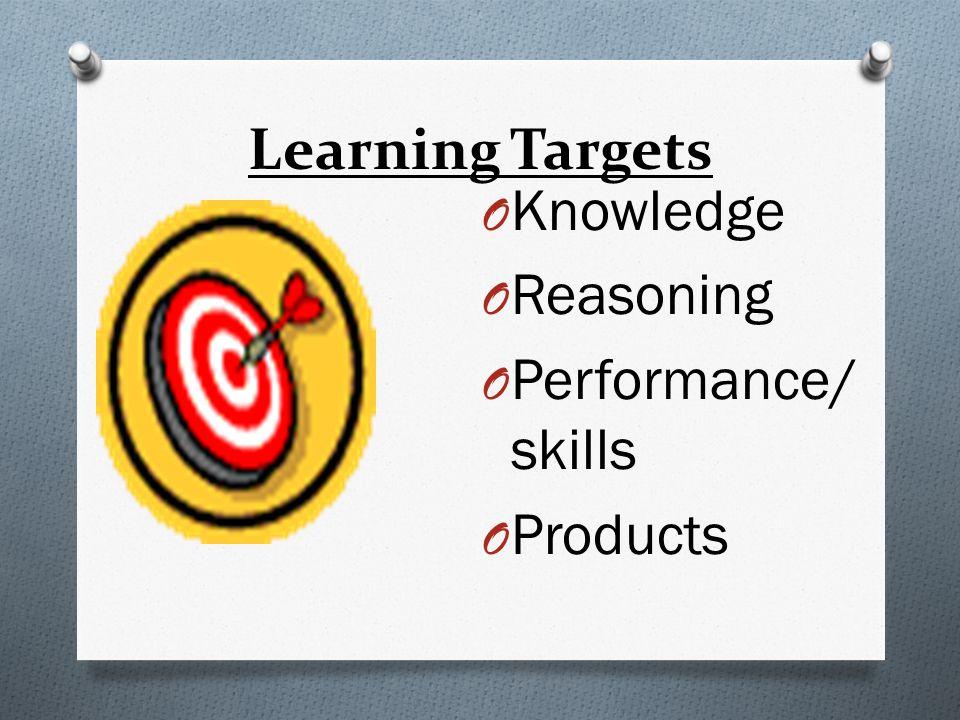 Learning Targets O Knowledge O Reasoning O Performance/ skills O Products