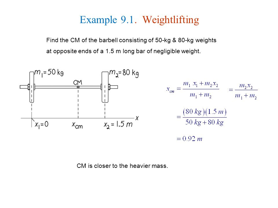 Example 9.1. Weightlifting Find the CM of the barbell consisting of 50-kg & 80-kg weights at opposite ends of a 1.5 m long bar of negligible weight. C
