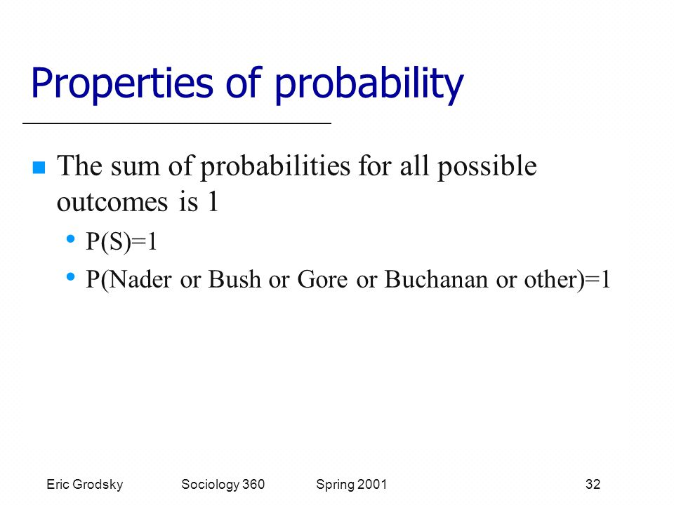 Eric Grodsky Sociology 360 Spring 2001 32 Properties of probability The sum of probabilities for all possible outcomes is 1 P(S)=1 P(Nader or Bush or Gore or Buchanan or other)=1