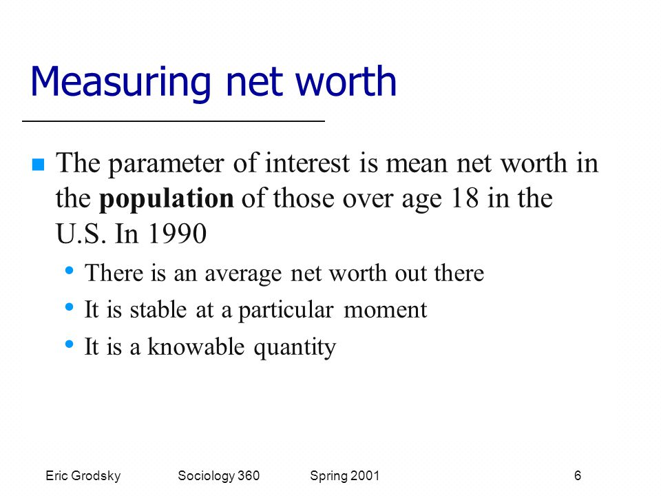 Eric Grodsky Sociology 360 Spring 2001 6 Measuring net worth The parameter of interest is mean net worth in the population of those over age 18 in the U.S.