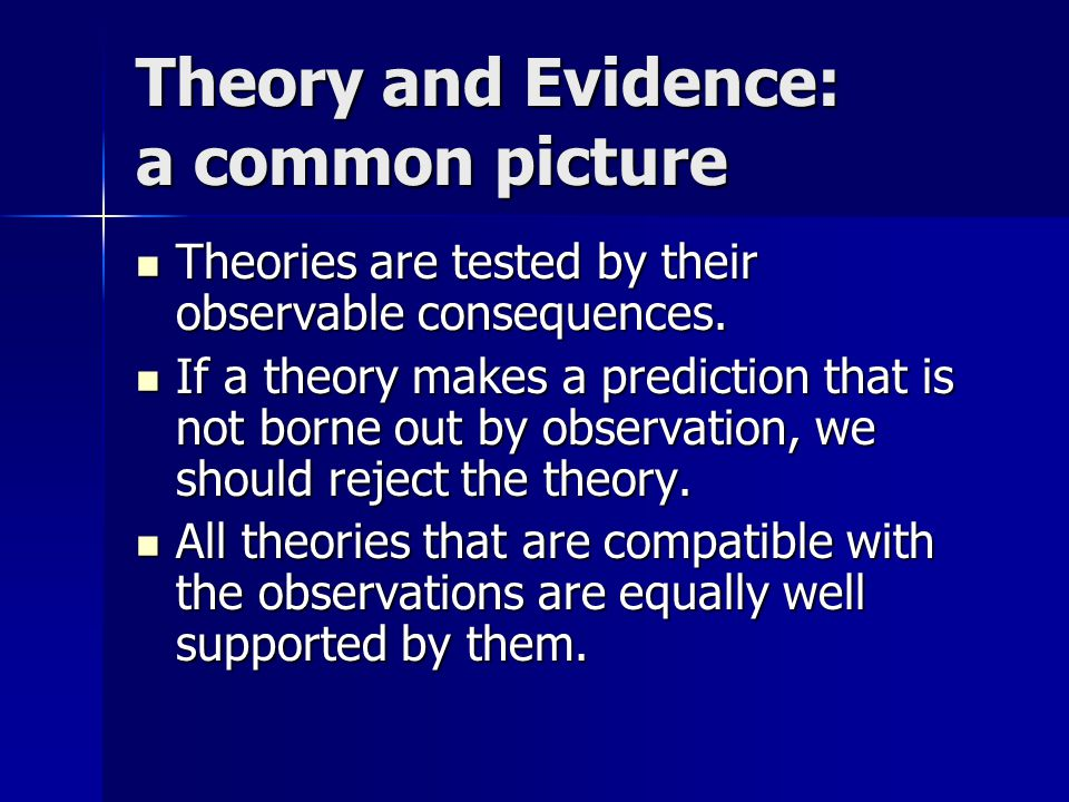 Theory and Evidence: a common picture Theories are tested by their observable consequences.