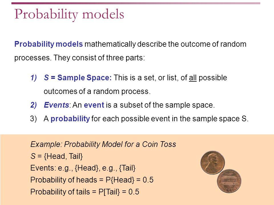 Probability models mathematically describe the outcome of random processes.