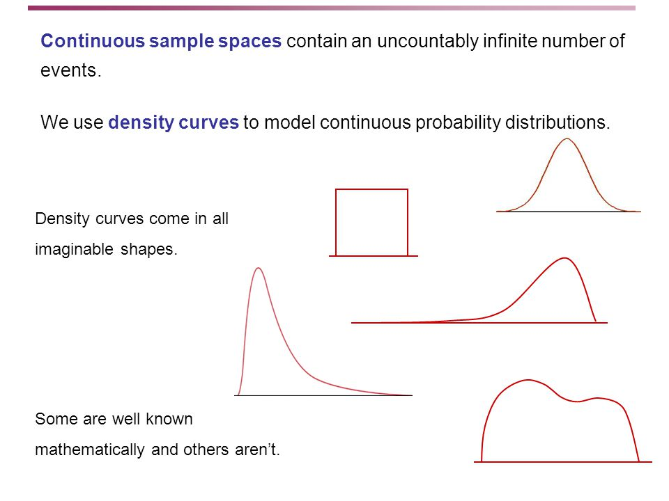 Density curves come in all imaginable shapes. Some are well known mathematically and others aren't.