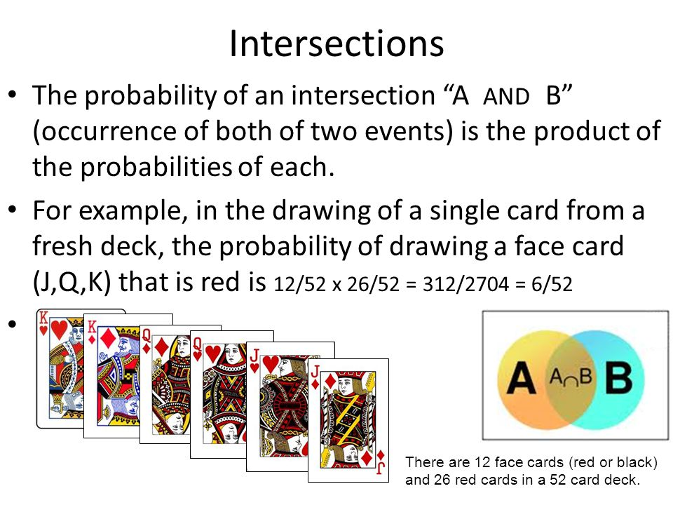 Intersections The probability of an intersection A AND B (occurrence of both of two events) is the product of the probabilities of each.