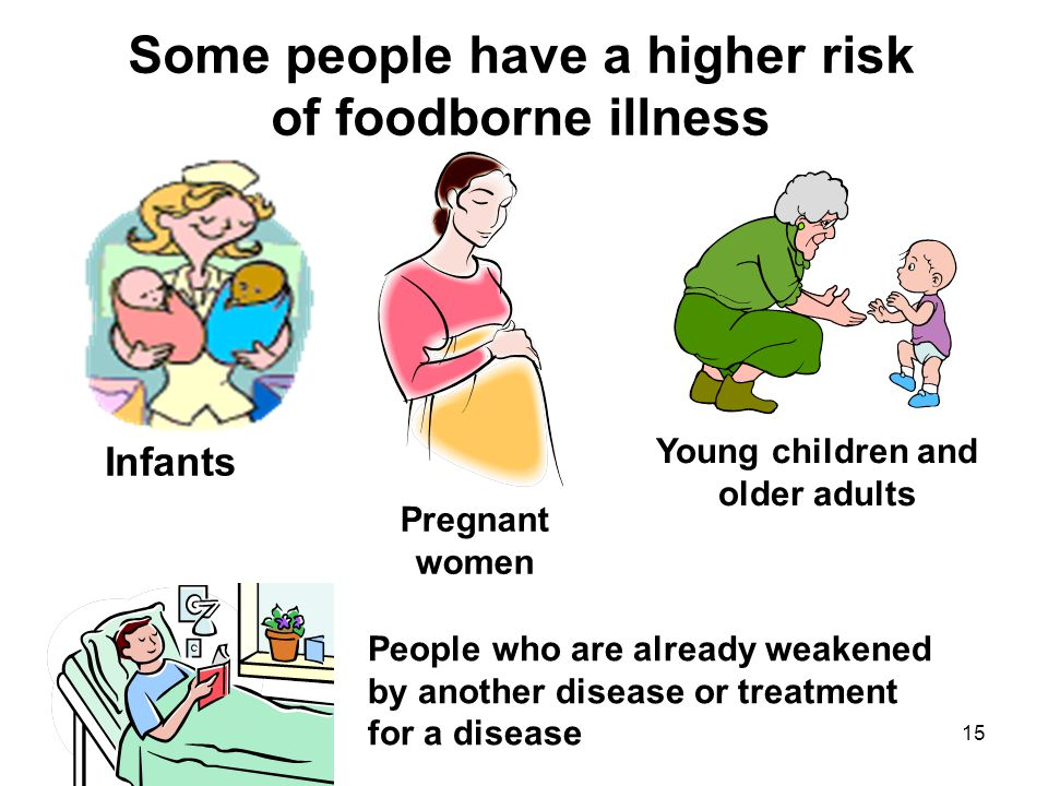 15 Some people have a higher risk of foodborne illness Pregnant women Young children and older adults People who are already weakened by another disea