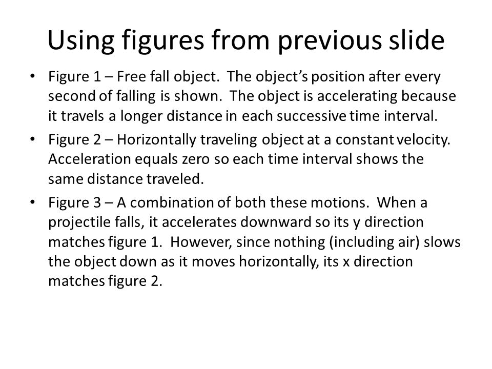 Using figures from previous slide Figure 1 – Free fall object. The object's position after every second of falling is shown. The object is acceleratin