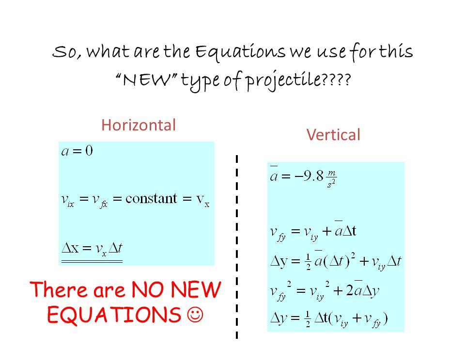 So, what are the Equations we use for this NEW type of projectile???.