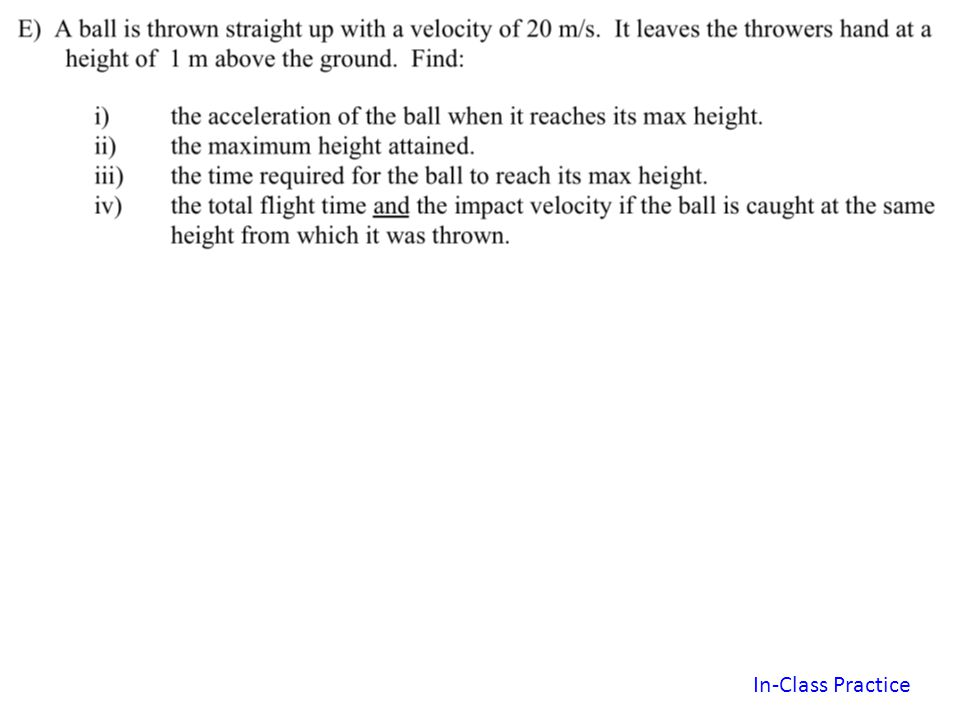Horizontal (x) Vertical (y) From Reading Assignment handout