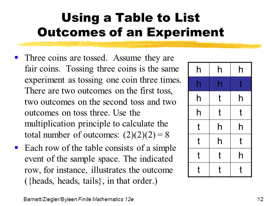 12Barnett/Ziegler/Byleen Finite Mathematics 12e Using a Table to List Outcomes of an Experiment  Three coins are tossed. Assume they are fair coins.