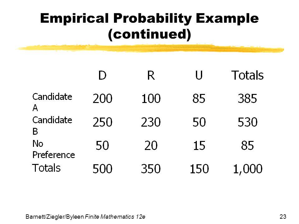 23Barnett/Ziegler/Byleen Finite Mathematics 12e Empirical Probability Example (continued)