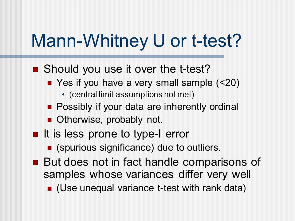 Mann-Whitney U or t-test. Should you use it over the t-test.