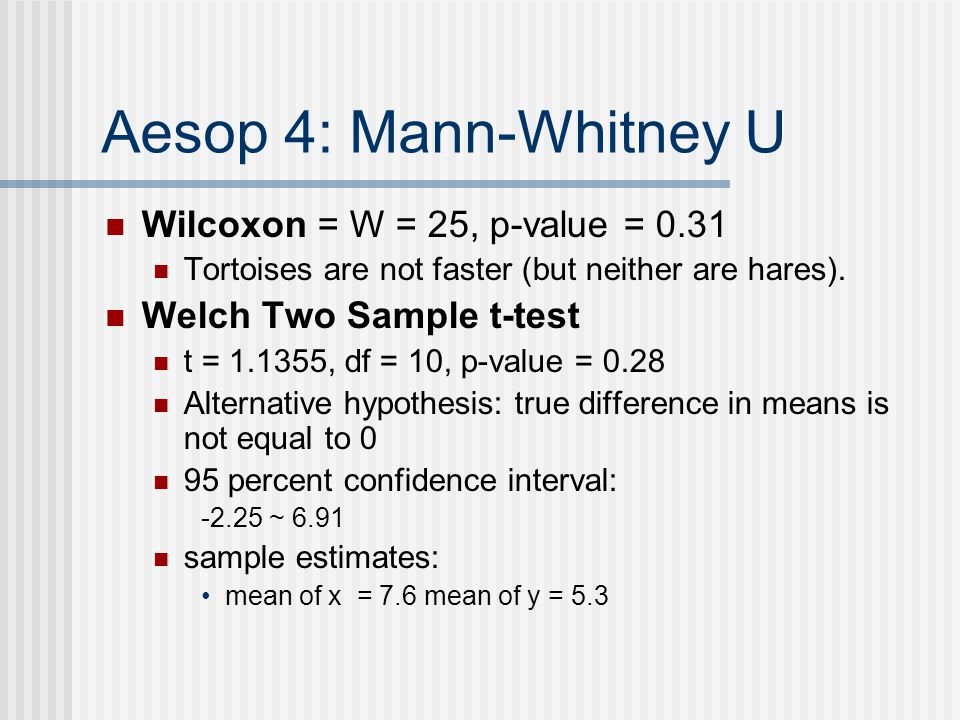 Aesop 4: Mann-Whitney U Wilcoxon = W = 25, p-value = 0.31 Tortoises are not faster (but neither are hares).