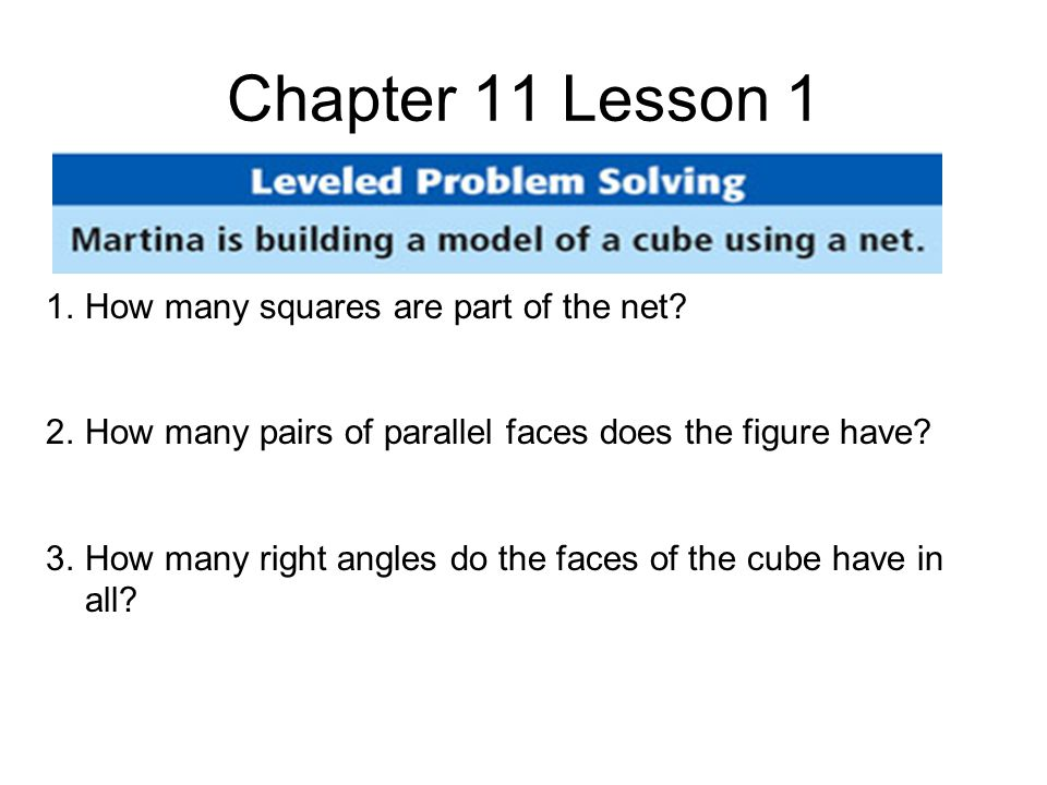 Chapter 11 Lesson 1 1.How many squares are part of the net.