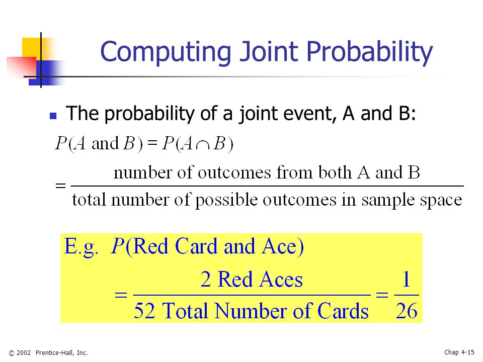 © 2002 Prentice-Hall, Inc. Chap 4-15 Computing Joint Probability The probability of a joint event, A and B: