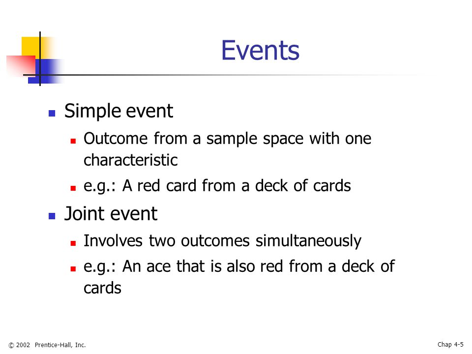 © 2002 Prentice-Hall, Inc. Chap 4-5 Events Simple event Outcome from a sample space with one characteristic e.g.: A red card from a deck of cards Join