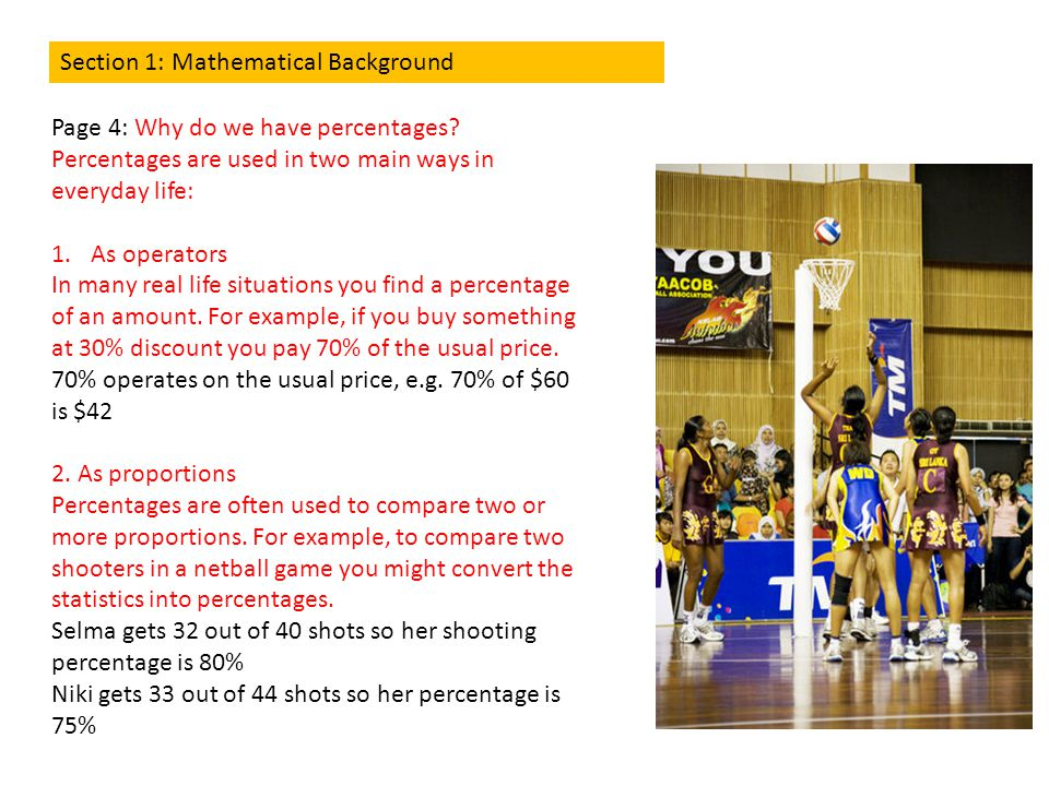 Section 1: Mathematical Background Page 5: Are percentages always less or equal to 100%.