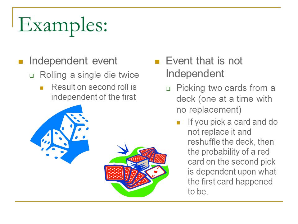 Examples: Independent event  Rolling a single die twice Result on second roll is independent of the first Event that is not Independent  Picking two cards from a deck (one at a time with no replacement) If you pick a card and do not replace it and reshuffle the deck, then the probability of a red card on the second pick is dependent upon what the first card happened to be.