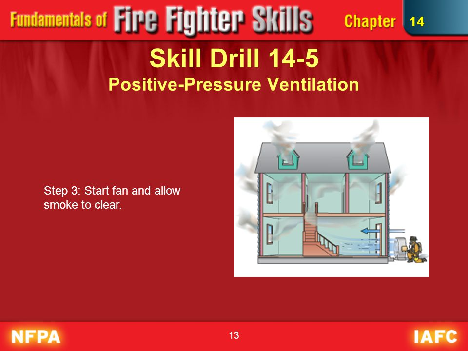 13 Skill Drill 14-5 Positive-Pressure Ventilation Step 3: Start fan and allow smoke to clear. 14