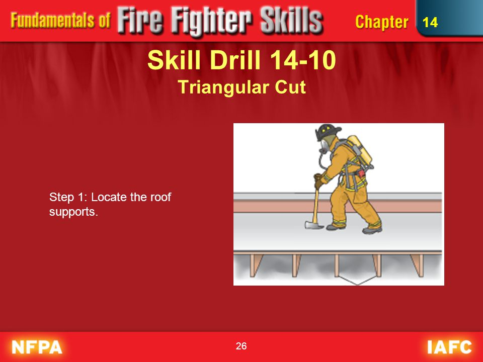 26 Skill Drill 14-10 Triangular Cut Step 1: Locate the roof supports. 14