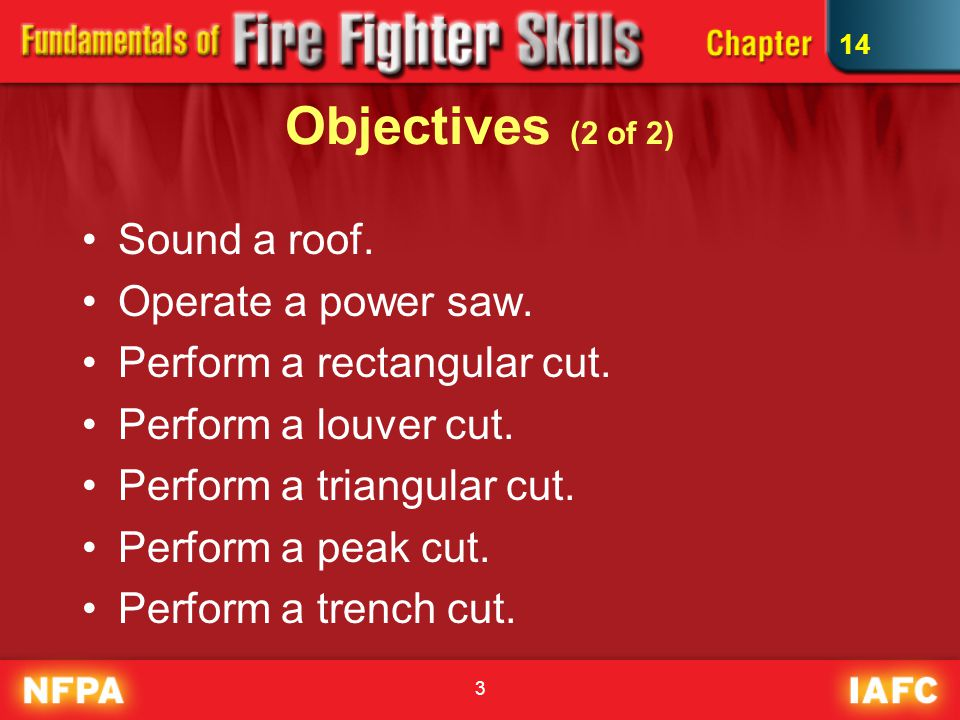 3 Objectives (2 of 2) Sound a roof. Operate a power saw.