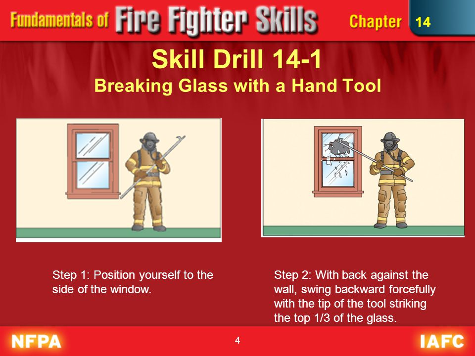 4 Skill Drill 14-1 Breaking Glass with a Hand Tool Step 1: Position yourself to the side of the window.