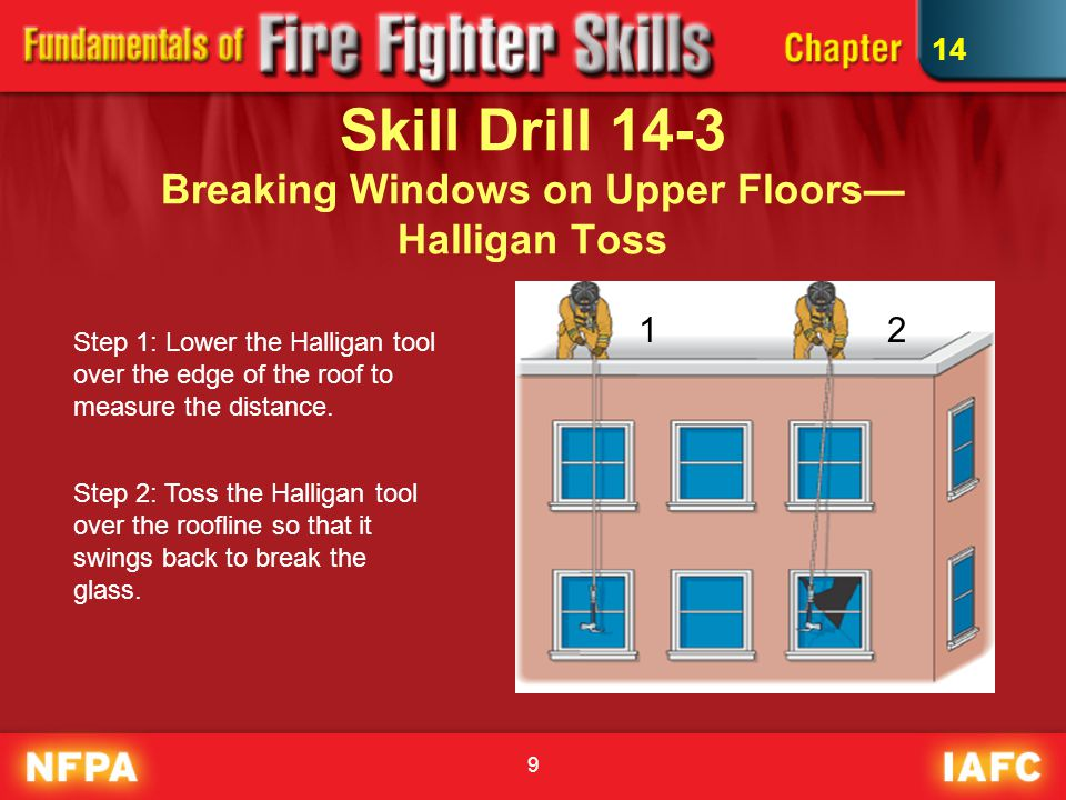 9 Skill Drill 14-3 Breaking Windows on Upper Floors— Halligan Toss Step 1: Lower the Halligan tool over the edge of the roof to measure the distance.
